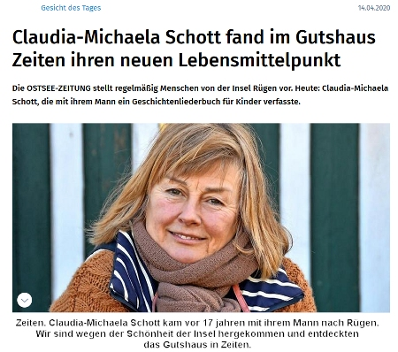 Screenshot Ostseezeitung mit Foto von Claudia Schott