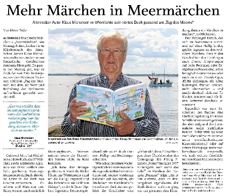 Foto vom Zeitungsartikel mit Foto von Klaus Michelsen