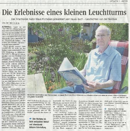 Zeitungsartikel aus den Kieler Nachrichten vom 2 Juni 2021 mit Foto von Klaus Michelsen