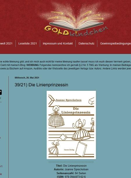 Screenshot vom Blog Goldkindchen mit Rezension des Buches Die Linienprinzessin